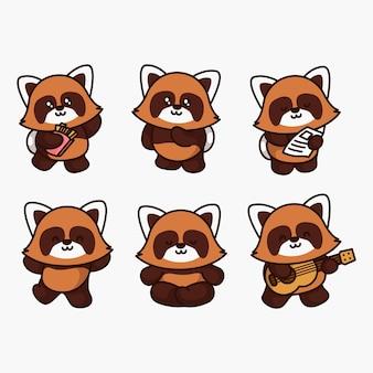 Urocza czerwona panda pozuje