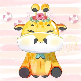 Urocza doodle dziecka żyrafa w akwareli.