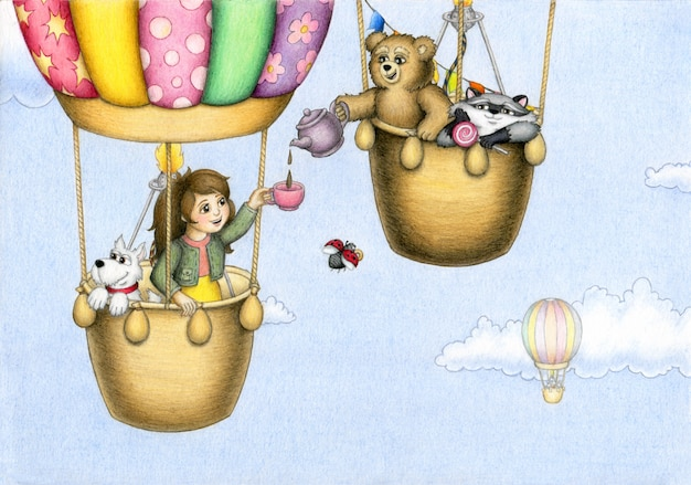 Urocza dziewczyna i jej zwierzęcy przyjaciele podróżują balonem po błękitnym pochmurnym niebie i piją herbatę.