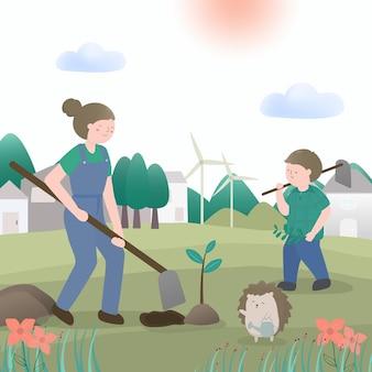 Urocza dziewczyna i zwierzę z kampanią sadzenia, aby uratować świat w postaci z kreskówek