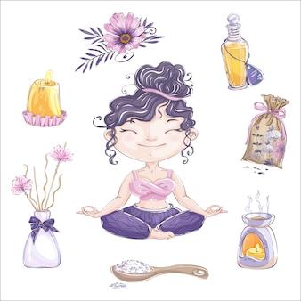 Urocza dziewczyna medytuje w pozycji lotosu i zestaw akcesoriów do aromaterapii.