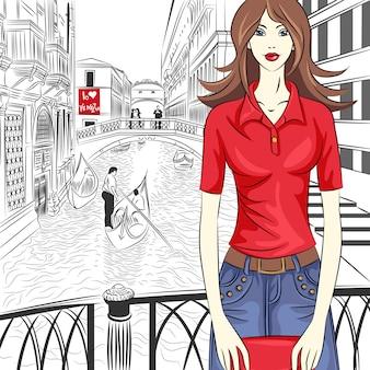 Urocza dziewczyna moda w czerwonej koszuli w stylu szkicu na ulicy wenecji