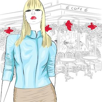 Urocza dziewczyna mody w stylu szkicu w paryskiej kawiarni