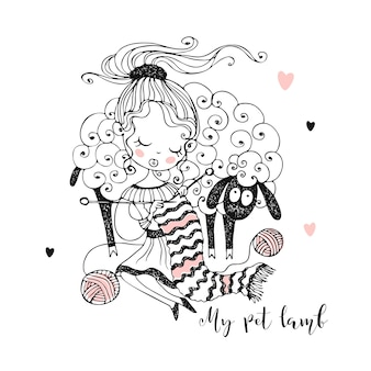 Urocza dziewczyna robi na drutach szalik obok swojego ulubionego baranka. kolorowanie.