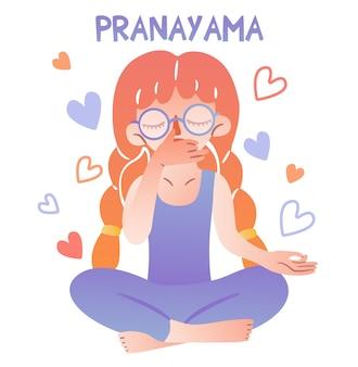 Urocza dziewczyna w okularach i warkoczach siedzi w pozycji lotosu i ćwiczy oddychanie. napis pranayama. palce złożone w mudrę. medytacja na białym tle postać ilustrująca jogę.
