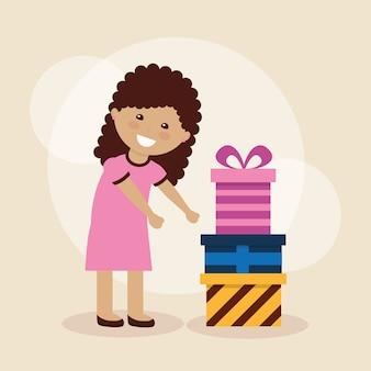 Urocza dziewczyna wstążka łuk owinięte pudełko