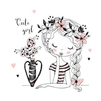 Urocza dziewczyna z kwiatami w wazonie.