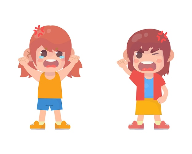 Urocza dziewczynka walczy i kłóci się ze sobą