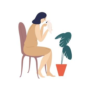 Urocza dziewczyny mienia papuga. śliczna młoda kobieta opiekuje się jej zwierzęciem domowym lub zwierzęciem domowym. ilustracja kolorowy kreskówka płaski.