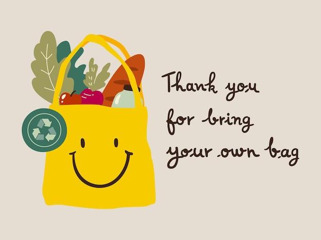 """Urocza eko torba z buźką z artykułami spożywczymi z napisem """"dziękuję za przyniesienie własnej torby"""