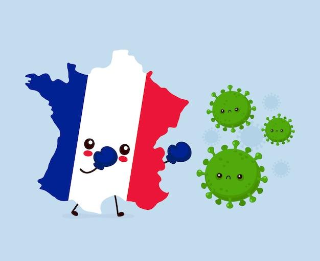 Urocza francja walczy z zakażeniem koronawirusem. ilustracja kreskówka postać w stylu płaski