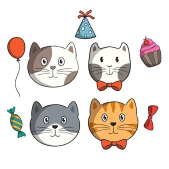 Urocza głowa kota z elementami urodzinowymi