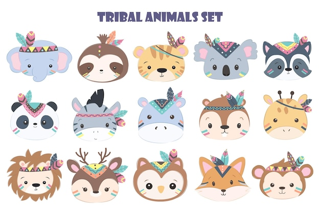 Urocza głowa zwierzęcia plemiennego do dekoracji dzieci w zestawie