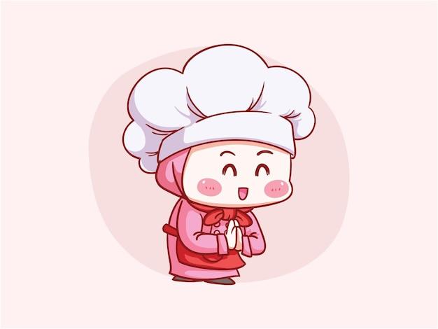 Urocza i kawaii muzułmańska szefowa kuchni w hidżabie witamy, dzięki, bow gesture manga chibi
