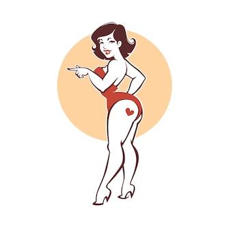 Urocza i piękna zakrzywiona pani, plus size pin up girl na beżowym tle