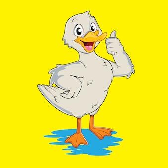Urocza i urocza biała kaczka