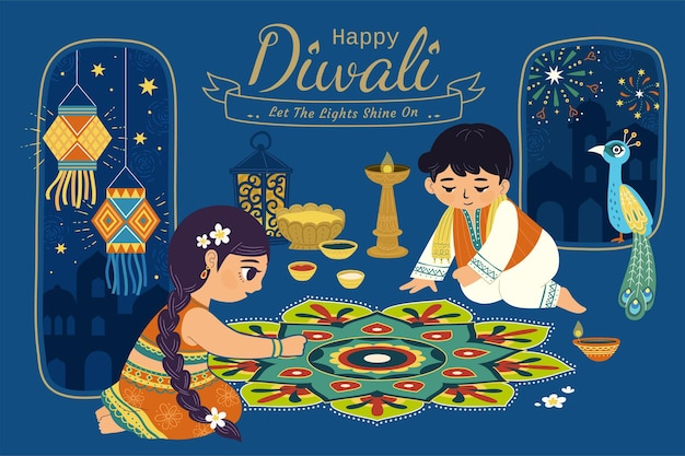 Urocza ilustracja diwali