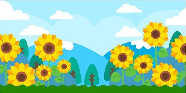 Urocza ilustracja doodle słonecznika
