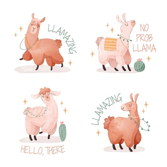 Urocza ilustracja dzikiej lamy