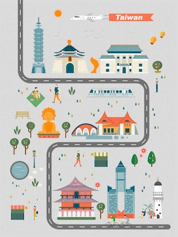 Urocza ilustracja koncepcja podróży tajwan