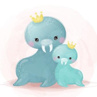 Urocza ilustracja macierzyństwa lwa morskiego w akwareli