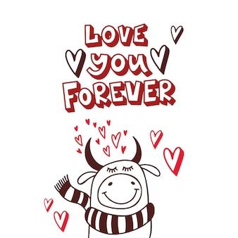 Urocza ilustracja na walentynki. kocham cię na zawsze. ilustracja