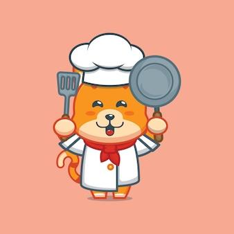 Urocza ilustracja postaci kota szefa kuchni