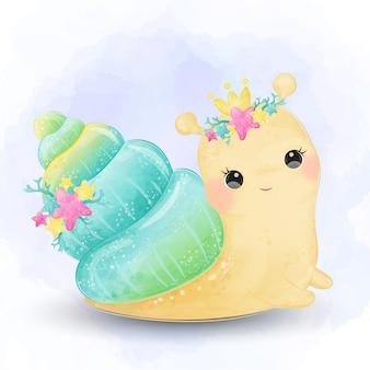 Urocza ilustracja ślimaka, sztuka zwierząt, dekoracja baby shower, ilustracja akwarela.
