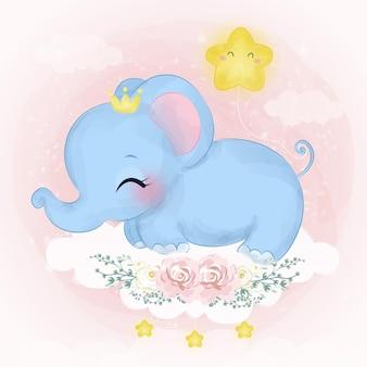 Urocza ilustracja słoniątka w efekcie akwareli