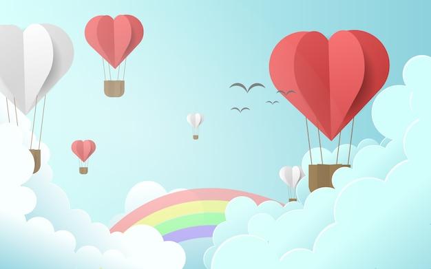 Urocza ilustracja z balonami na gorące powietrze