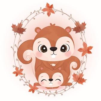 Urocza ilustracja zwierząt do dekoracji sezonu jesiennego