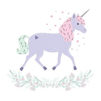 Urocza jednorożecowa girlanda o pełnej długości. purpurowe zwierzę fantasy z rogiem, różową grzywą. widok z boku. kolorowa ilustracja w kreskówka stylu.