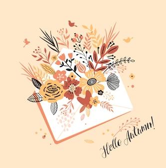 Urocza jesienna kartka z bukietem kwiatów, kopertą w liście i napisem i hello autumn.