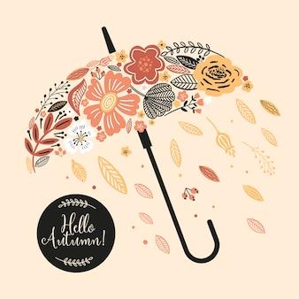 Urocza jesienna kartka z parasolką, kwiatami, liśćmi oraz napisem hello autumn.