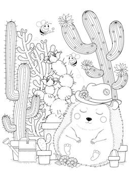 Urocza jeż z kolorowanką dla dorosłych kaktusów