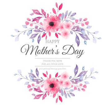 Urocza karta dzień matki z kwiatami akwarela