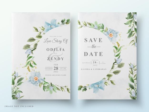 Urocza karta kwiatowy ślub akwarela