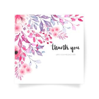 Urocza karta kwiatowy z podziękowaniami