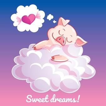 Urocza kartka okolicznościowa z ręcznie rysowaną świnką śpiącą na chmurze i przykładową wiadomością tekstową słodkie sny, ilustracja