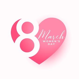 Urocza kartka z życzeniami serca na dzień kobiet