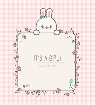 Urocza kawaii ramka na baby shower z królikiem i kwiatami