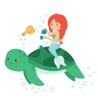 Urocza kawaii syrenka z filiżanką herbaty. kreskówka ryb i żółwi.