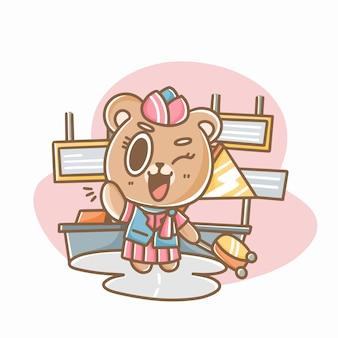 Urocza kelnerka teddy czyszczenie ilustracji doodle