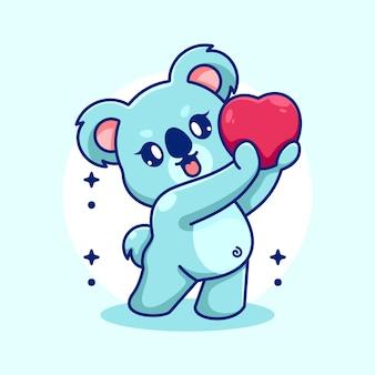 Urocza koala daje kreskówki serca