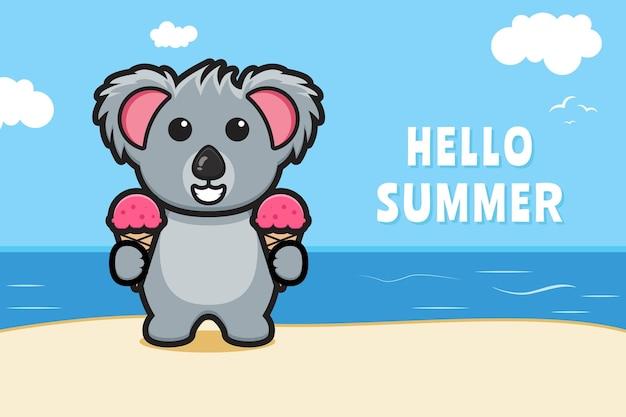 Urocza koala i lody z letnim banerem z pozdrowieniami ikona ilustracja kreskówka