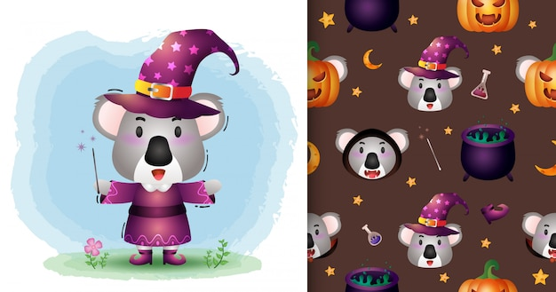 Urocza koala z kolekcją kostiumów na halloween. bez szwu wzorów i ilustracji