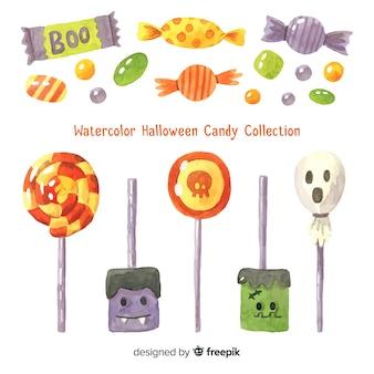 Urocza kolekcja akwarela cukierki halloween