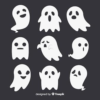 Urocza kolekcja duchów halloween z płaskiej konstrukcji