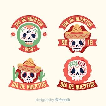 Urocza kolekcja etykiet dia de muertos