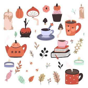 Urocza kolekcja ilustracji halloween. wektor doodle styl ręcznie rysowane elementy projektu. upiorny i uroczy klipart z 31 października.